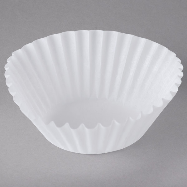 "White Fluted Baking Cup 1 3/8"" x 15/16"" - 1000/Pack Main Image 1"