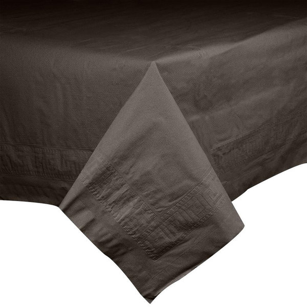 "Hoffmaster 220646 54"" x 108"" Cellutex Chocolate Brown Tissue / Poly Paper Table Cover - 25/Case Main Image 1"
