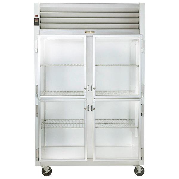 Traulsen G21000 2 Section Glass Half Door Reach In Refrigerator - Left / Right Hinged Doors