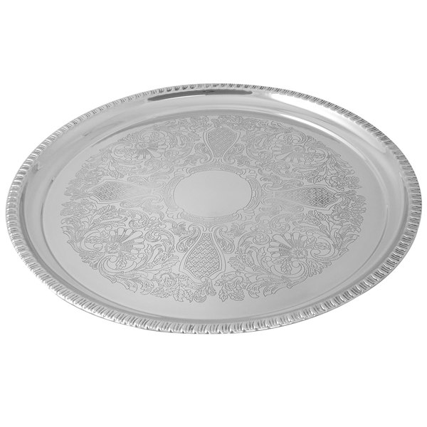 """Tabletop Classics by Walco TR-11235 18"""" Round Stainless Steel Tray with Gadroon Border and Embossed Center Main Image 1"""