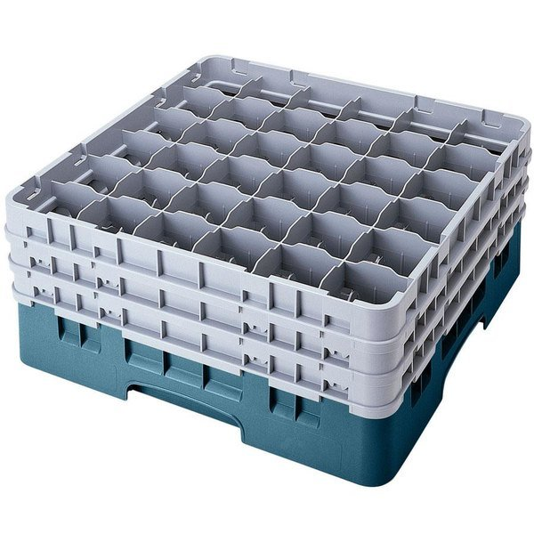 "Cambro 36S1214414 Teal Camrack Customizable 36 Compartment 12 5/8"" Glass Rack"