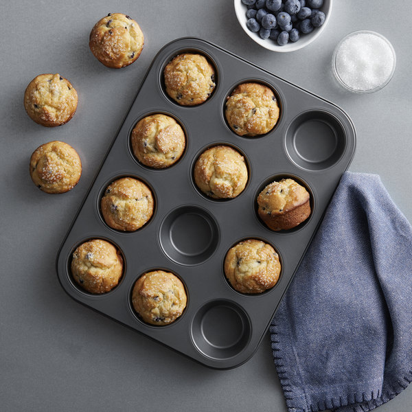 """12 Cup 3.5 oz. Non-Stick Carbon Steel Muffin / Cupcake Pan - 10 3/4"""" x 14"""" Main Image 2"""
