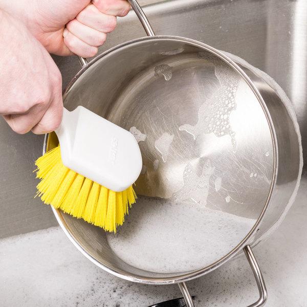 "Carlisle 4054104 8"" Yellow Sparta Spectrum General Clean Up / Pot Scrub Brush"