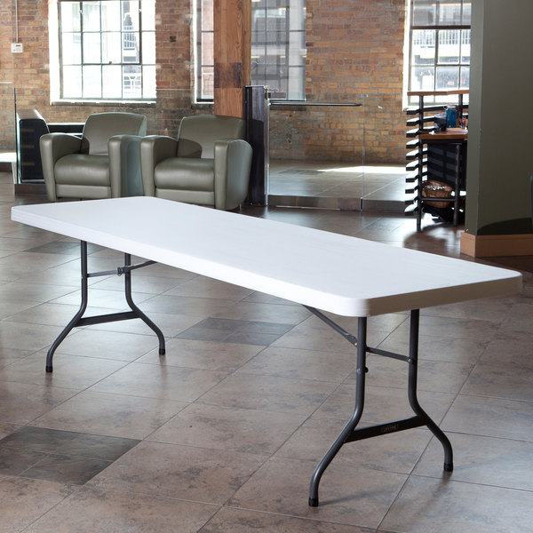 "Lifetime Folding Table, 30"" x 96"" Plastic, White Granite - 4/Pack"