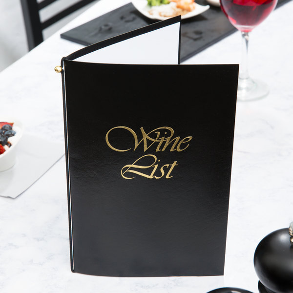 "Menu Solutions L702A 5 1/2"" x 8 1/2"" Black Wine List Cover"
