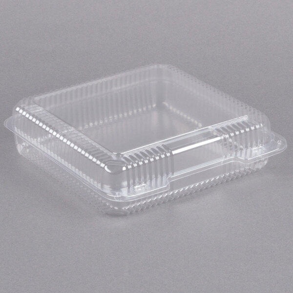 Dart C50UT1 StayLock 9 1/8 inch x 9 1/2 inch x 2 1/2 inch Clear Hinged Plastic 9 inch Square Container - 250/Case