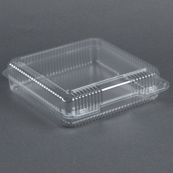 Dart Solo C50UT1 StayLock 9 1/8 inch x 9 1/2 inch x 2 1/2 inch Clear Hinged Plastic 9 inch Square Container - 250/Case