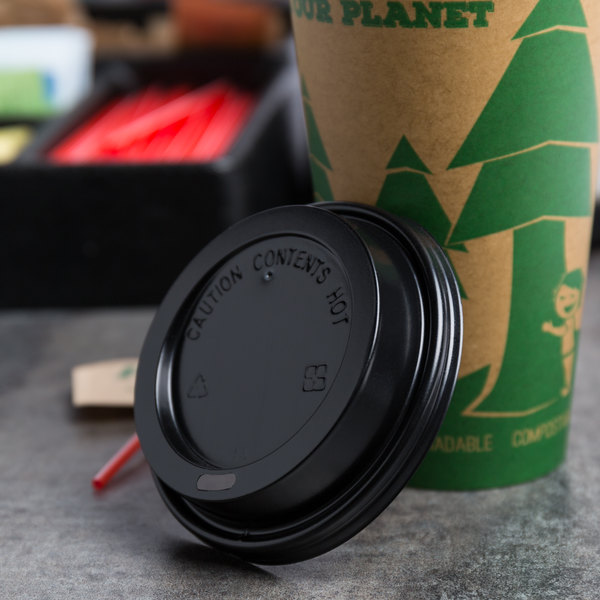 Choice 10 to 20 oz. Black Hot Paper Cup Travel Lid - 1000/Case