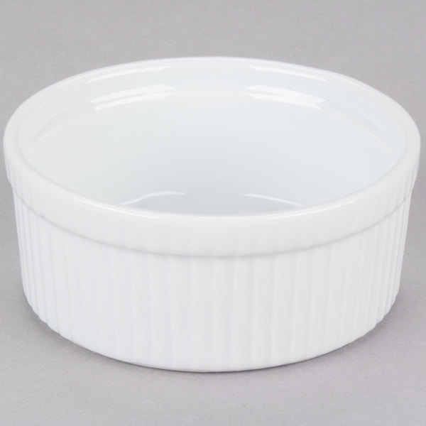 CAC SFB-16 16 oz. White China Fluted Souffle Bowl - 36/Case