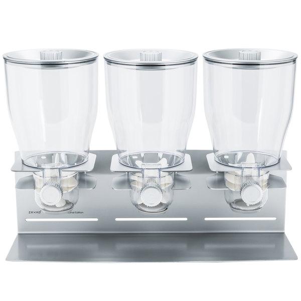 Zevro KCH-06151 Professional Silver 4 Liter Triple Canister Dry Food Dispenser