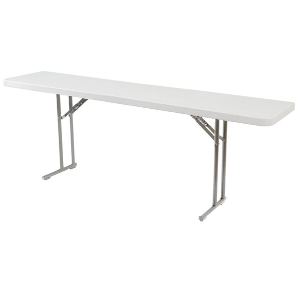 "National Public Seating BT-1860 18"" x 60"" Speckled Gray Plastic Folding Seminar Table"