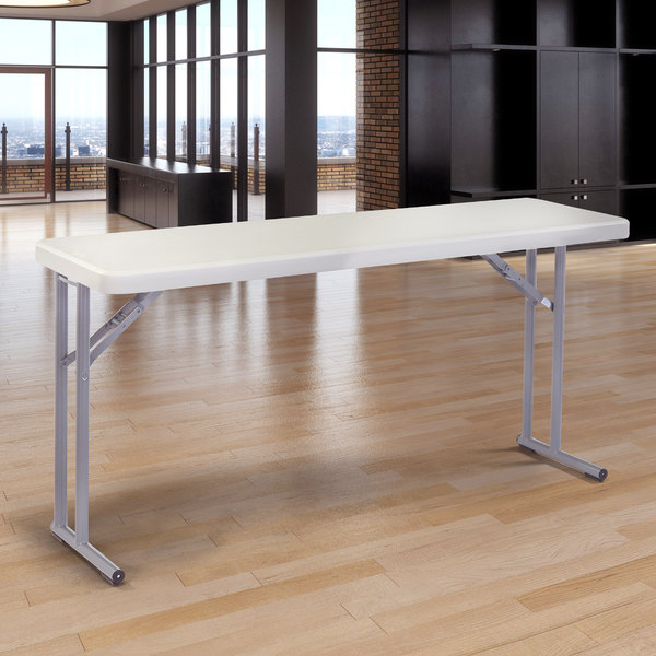 """National Public Seating BT1860 18"""" x 60"""" Speckled Gray Plastic Folding Seminar Table Main Image 6"""