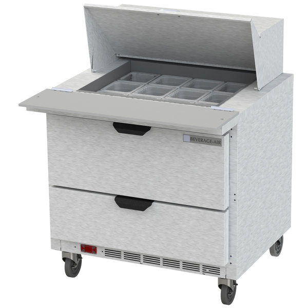 "Beverage Air SPED36HC-12M-2 36"" 2 Drawer Mega Top Refrigerated Sandwich Prep Table"