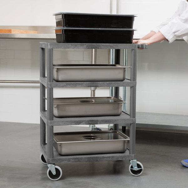 "Luxor BC45-G Gray 4 Shelf Serving Cart - 18"" x 24"" x 39"" Main Image 3"