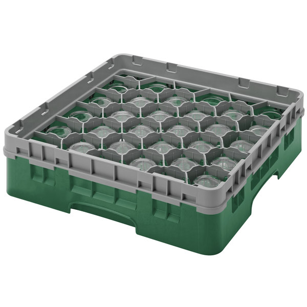 "Cambro 30S800119 Sherwood Green Camrack Customizable 30 Compartment 8 1/2"" Glass Rack"