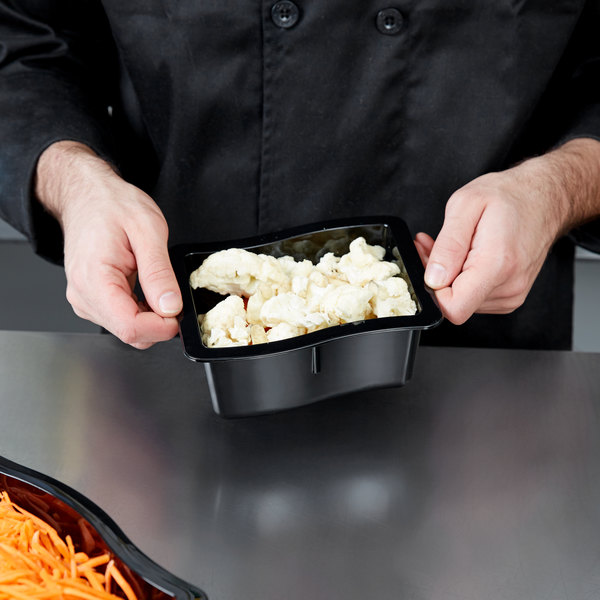 Carlisle 698603 Modular Displayware 1/3 Size Black Wavy Edge Food Pan