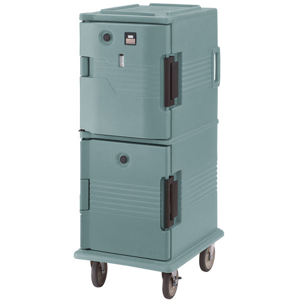 Cambro UPCHT8002401 Slate Blue Ultra Camcart Two Compartment Heated Holding Pan Carrier with Casters, Top Compartment Heated - 220V (International Use Only)