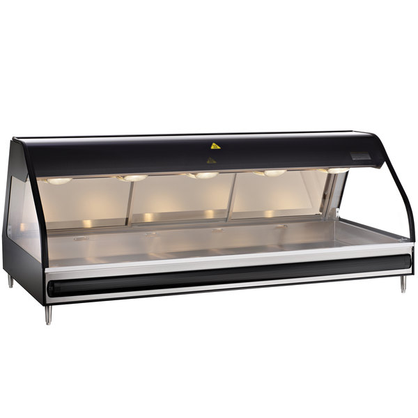 "Alto-Shaam ED2-72/PL BK Black Heated Display Case with Curved Glass - Left Self Service 72"" Main Image 1"