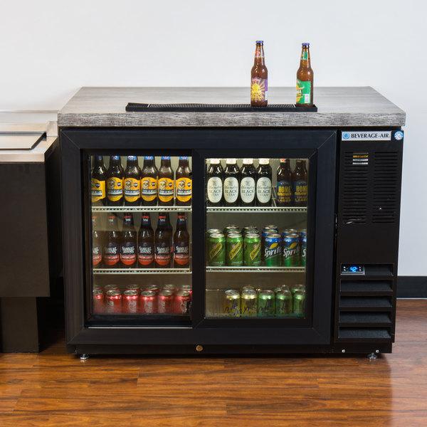 "Beverage-Air BB48HC-1-GS-B 48"" Black Underbar Height Sliding Glass Door Back Bar Refrigerator Main Image 5"