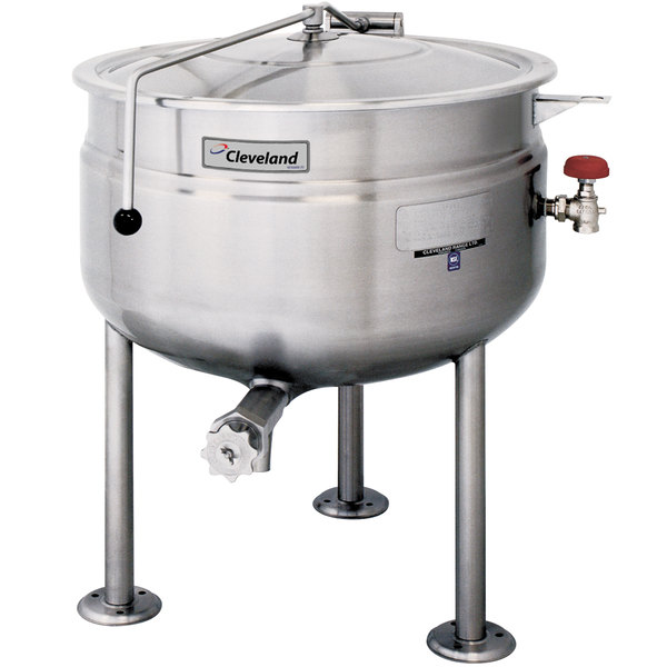 Cleveland KDL-80-F 80 Gallon Stationary Full Steam Jacketed Direct Steam Kettle Main Image 1