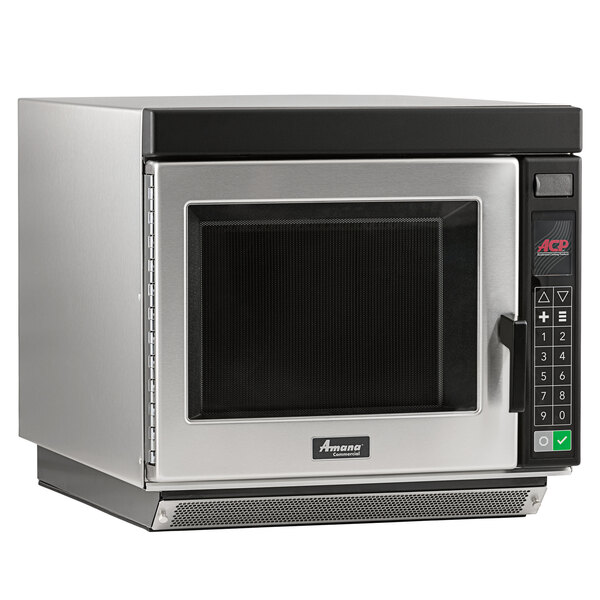 Amana RC17S2 Heavy Duty Stainless Steel Commercial Microwave Oven with Push Button Controls - 208/240V, 1700W Main Image 1