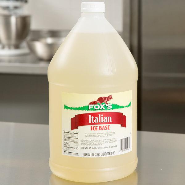 Fox S 1 Gallon Neutral Italian Ice Syrup Base 4 Case