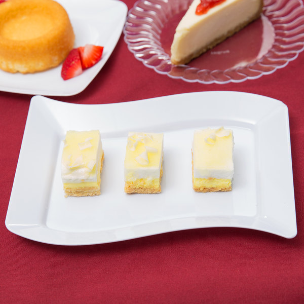 "Fineline Wavetrends 1405-WH 5 1/2"" x 7 1/2"" White Customizable Plastic Dessert Plate - 120/Case Main Image 4"