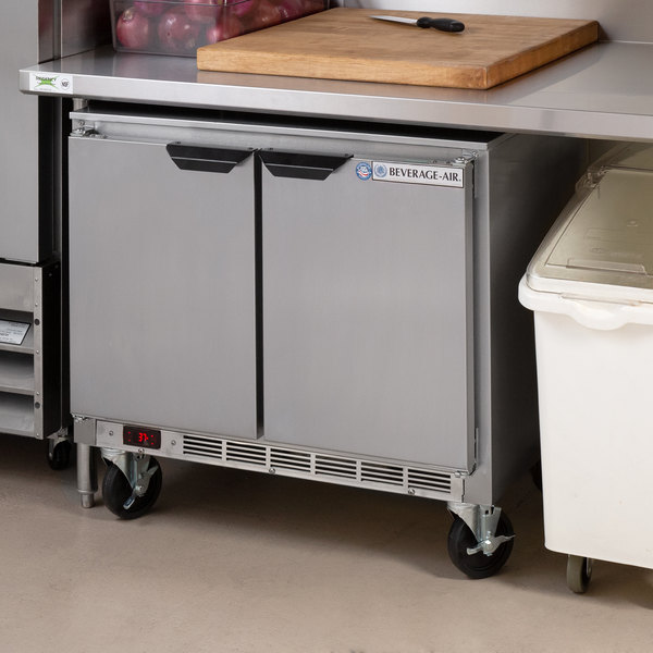 "Beverage-Air UCR34Y 34"" Shallow Depth Low Profile Undercounter Refrigerator"