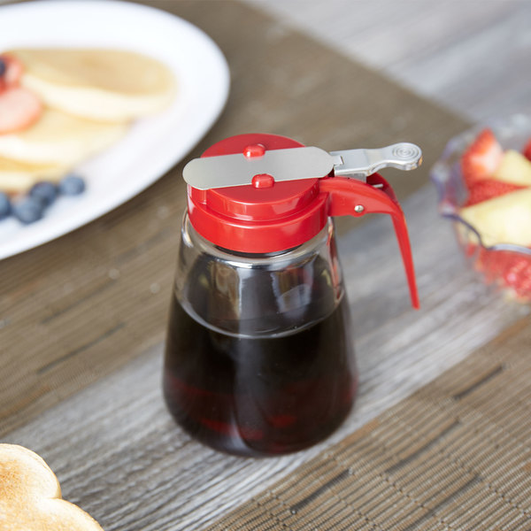 Tablecraft 1371RE 12 oz. Glass Syrup Dispenser with Red ABS Top - 12/Pack