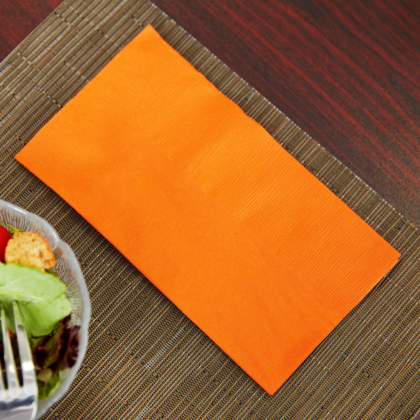 "Orange Paper Dinner Napkin, Choice 2-Ply, 15"" x 17"" - 125/Pack"