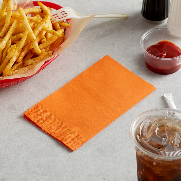 "Choice 15"" x 17"" Customizable Orange 2-Ply Paper Dinner Napkin - 125/Pack Main Image 3"
