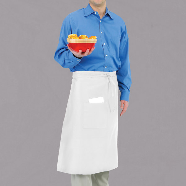 """Chef Revival 607BA-WH Customizable Long White Crew Bistro Apron with One Pocket - 30""""L x 33""""W"""