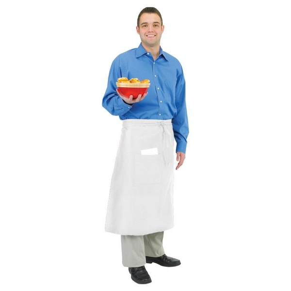 Chef Revival 607BA-WH Customizable Long White Crew Bistro Apron with One Pocket - 28 inchL x 34 inchW
