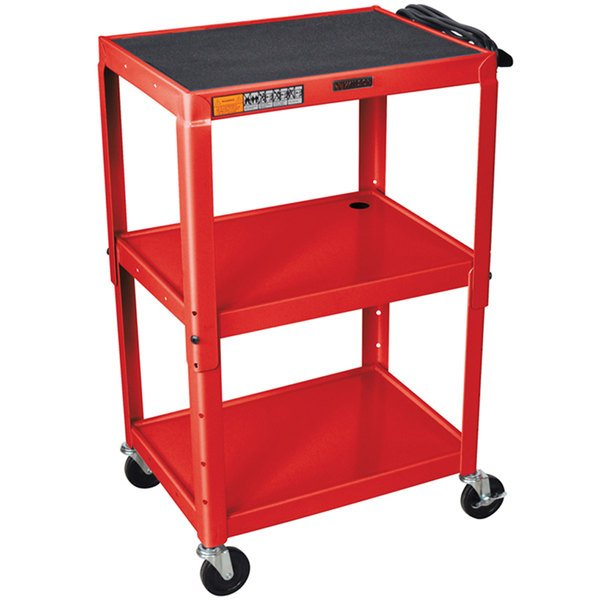 "Luxor W42ARE Red Metal 3 Shelf A/V Utility Cart 18"" x 24"" x 42"" - Adjustable Height"