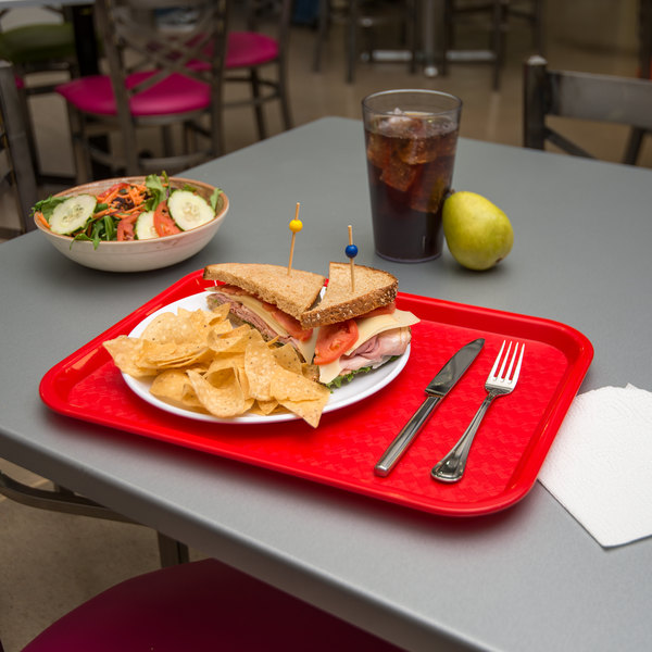 """Carlisle CT121605 Cafe 12"""" x 16"""" Red Standard Plastic Fast Food Tray"""