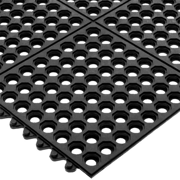 "San Jamar KM1140B Connect-A-Mat 3' x 3' Black Grease-Resistant Bagged Floor Mat with Beveled Edge - 1/2"" Thick"