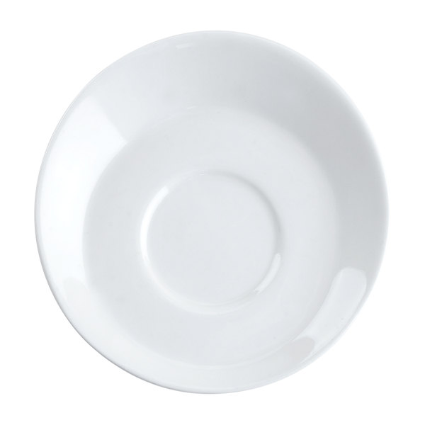"CAC SHER-36 Sheer 4 1/2"" Bone White Round Porcelain A.D. Saucer - 36/Case"