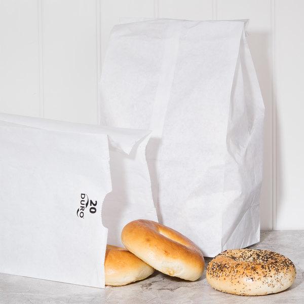 Duro 20 lb. White Paper Bag - 500/Bundle