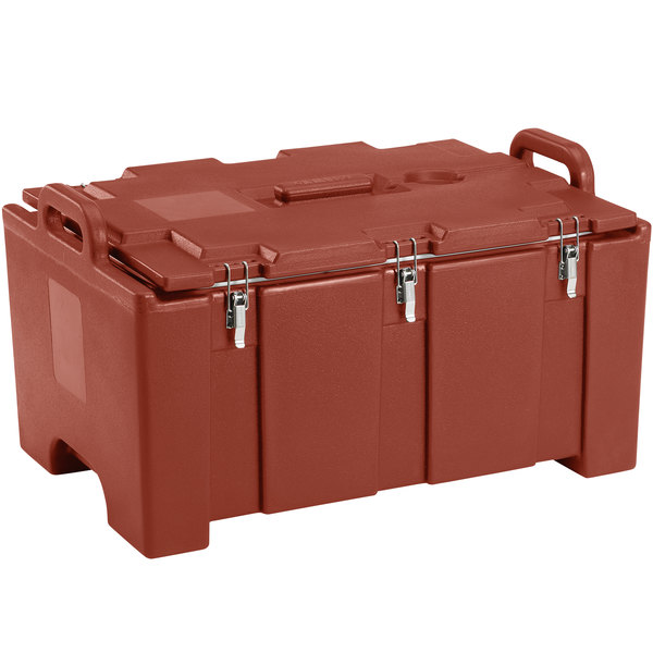 """Cambro 100MPC402 Camcarrier Red Brown Top loading Pan Carrier with Handles for 12"""" x 20"""" Food Pans"""