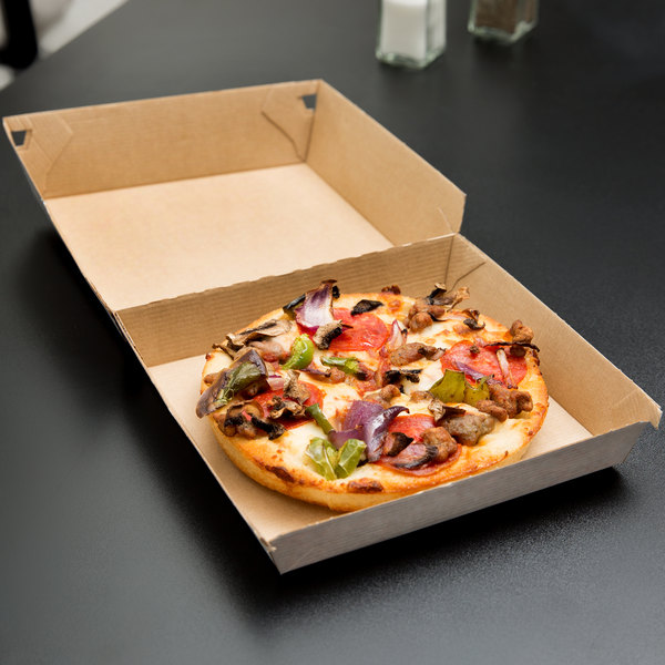 "LBP 55200 7 1/2"" x 7"" x 2 1/2"" Corrugated Clamshell Personal Pizza Take-Out Box - 200/Case"