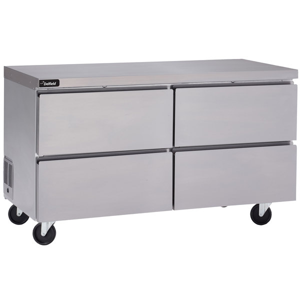 """Delfield GUR60P-D 60"""" Front Breathing Undercounter Refrigerator with Four Drawers and 3"""" Casters Main Image 1"""