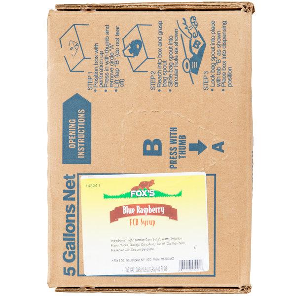 Fox's Bag In Box Blue Raspberry Slush Syrup - 5 Gallon