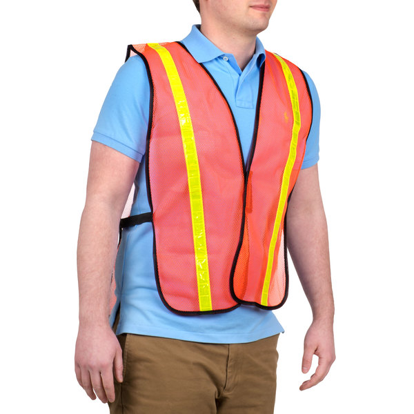 """Orange High Visibility Safety Vest with 1"""" Reflective Tape Main Image 1"""