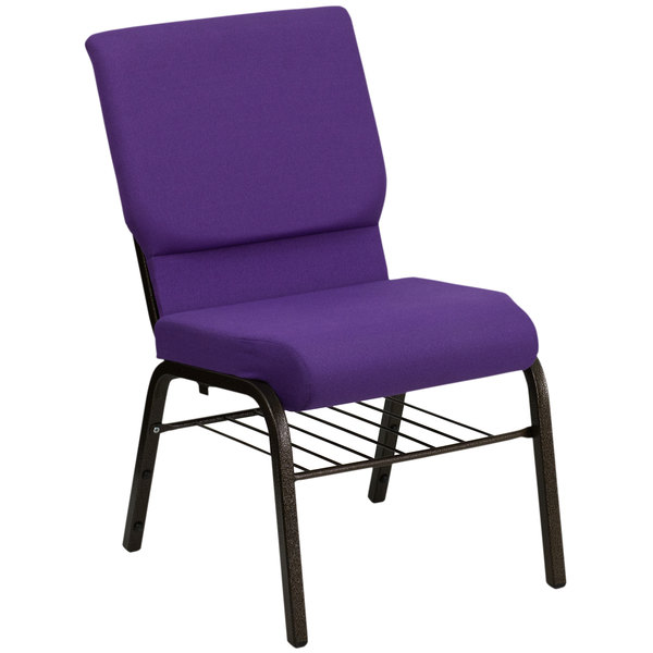 "Flash Furniture XU-CH-60096-PU-BAS-GG Purple 18 1/2"" Wide Church Chair with Communion Cup Book Rack - Gold Vein Frame"