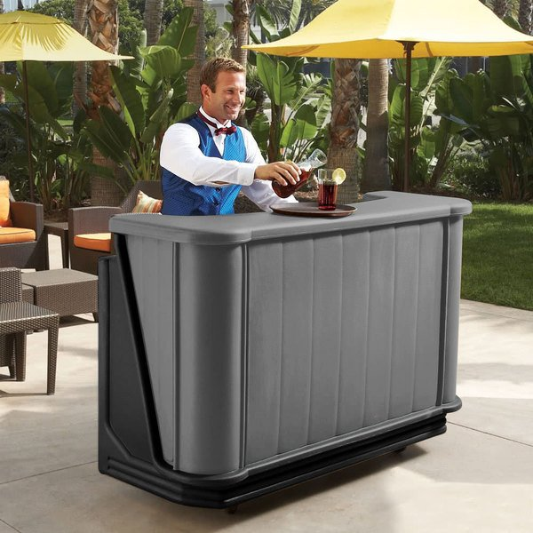 """Cambro BAR650PMT420 Granite Gray and Black Cambar 67"""" Portable Bar with 7-Bottle Speed Rail and Complete Post Mix System with Water Tank"""