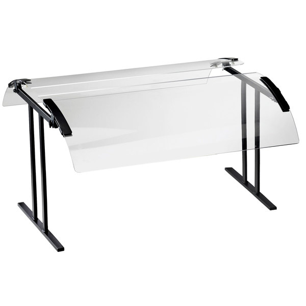 """Cal-Mil 2027-36-13 37 1/4"""" Black Double-Face Tabletop Sneeze Guard"""