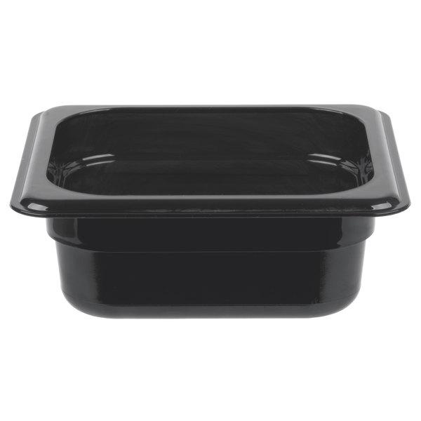 Cambro 62HP110 H-Pan 1/6 Size Black High Heat Food Pan - 2 1/2 inch Deep
