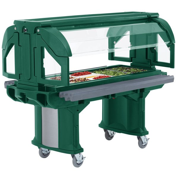 Cambro VBRLHD5519 Green 5' Versa Food / Salad Bar with Heavy-Duty Casters - Low Height