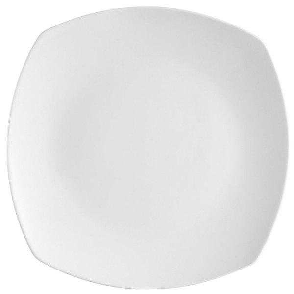 "CAC COP-SQ16 10"" Coupe Bright White Square Porcelain Plate - 12/Case"