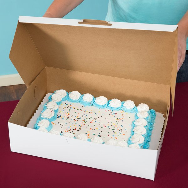 "Southern Champion 1035 19"" x 14"" x 5"" White Half Sheet Cake / Bakery Box - 50/Bundle"